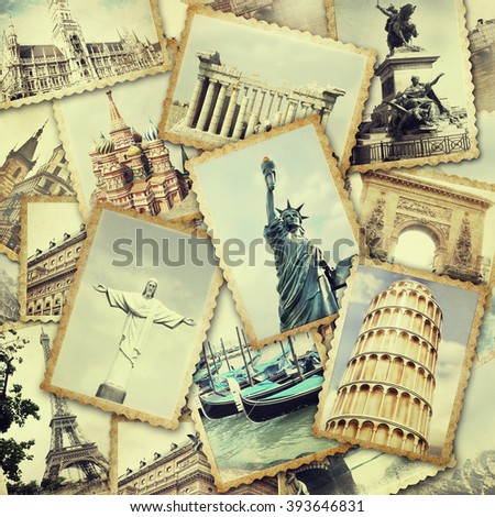 Collage of old photo. Traveling concept. - stock photo