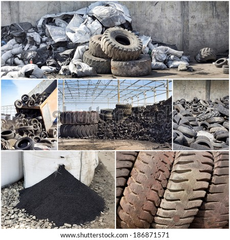 Collage of old used tires and rubber recycling industry - stock photo