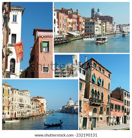 Collage of old Venice (Italy) famous landmarks for your travel design  (all photos are my own) - stock photo