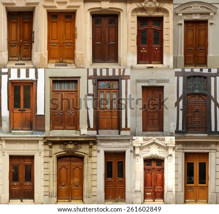 Collage of old wooden doors from Europe - stock photo