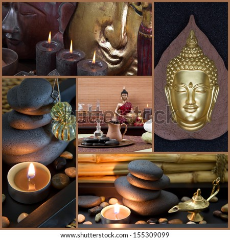 Collage of oriental decorating objects in asian style with buddha. - stock photo
