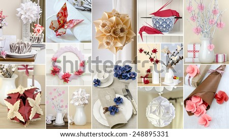 collage of origami in different shapes and colors for interior decoration home - stock photo