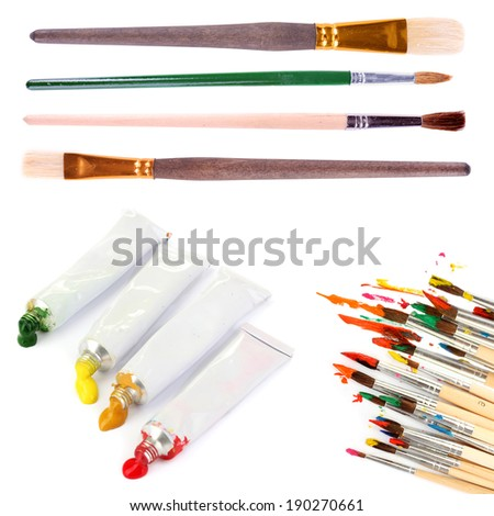 Collage of paint brushes with acrylic paint in tubes isolated on white - stock photo