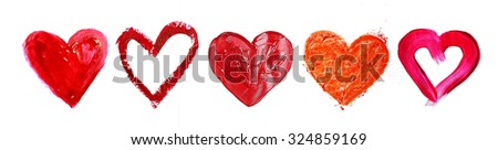 Collage of painted heart isolated on white - stock photo