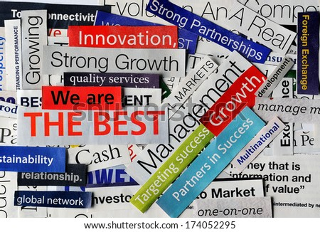 collage of paper headlines about the world economy - stock photo