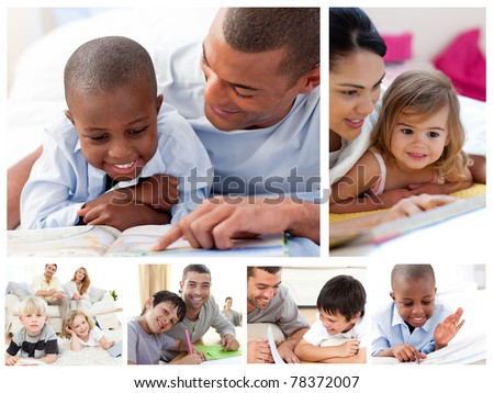 Collage of parents educating children at home - stock photo