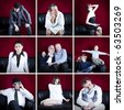 collage of particular people on the sofa with velvet red background - stock photo