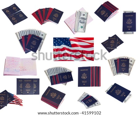 Collage of passports, US money and US flags on white isolated - stock photo