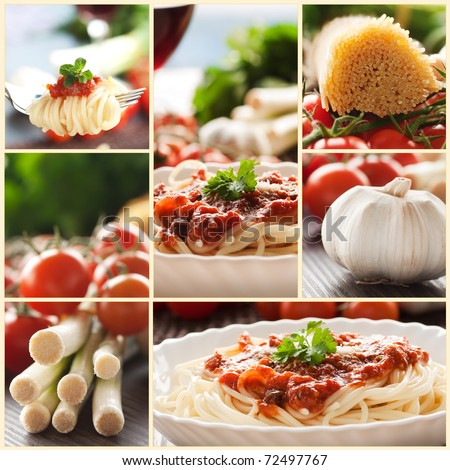 Collage of pasta dish. Spaghetti with tomato sauce, cherry tomatoes, spring onions and other ingredients. - stock photo