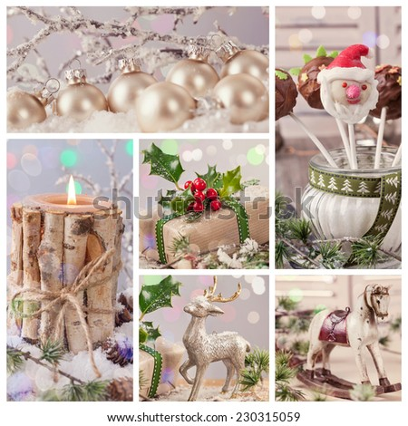 Collage of pastel colored christmas decorations - stock photo