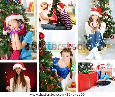 Collage of people celebrating Christmas at home - stock photo