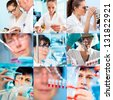 Collage of people clinicians studying microbiology genetics in laboratory - stock photo