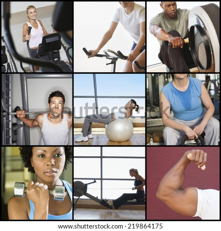 Collage of people exercising in gym - stock photo