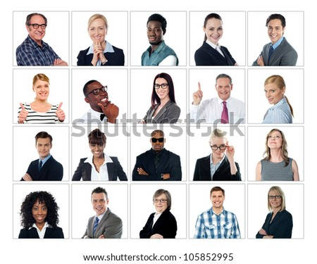 Collage of people from different ethnic background. Squared blocks - stock photo