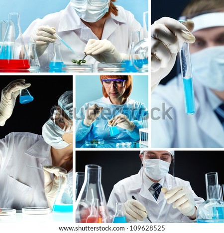 Collage of people in medical uniform working in lab - stock photo