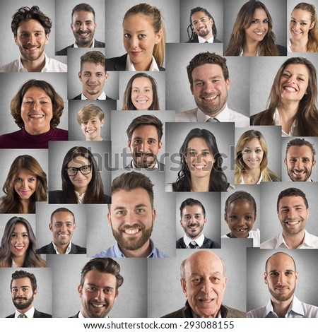 Collage of people portraits of smiling faces - stock photo