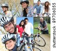Collage of people riding their bikes - stock photo