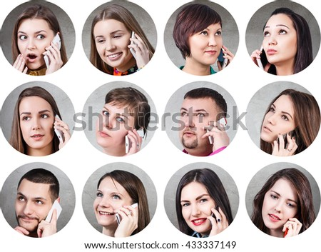 Collage of people speak on the phone
