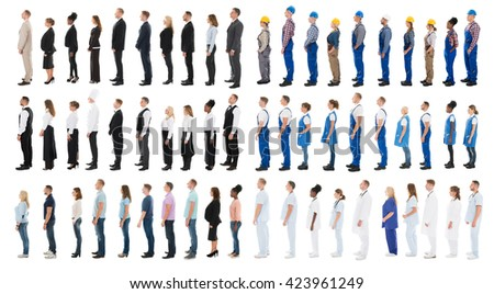 Collage Of People With Different Occupations Standing In Line Against White Background - stock photo
