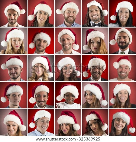 Collage of person with Santa Claus hat - stock photo