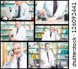 Collage of pharmacy related photos - stock photo