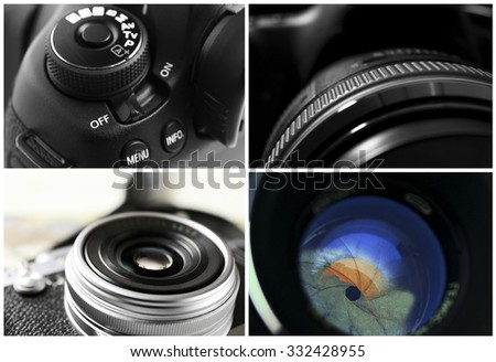 Collage of photo cameras - stock photo