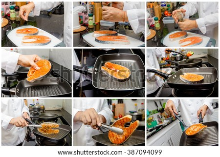 collage of photo chef making fresh salmon steak on wooden board - stock photo