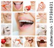 collage of photographs on the theme of dental care and healthy teeth - stock photo