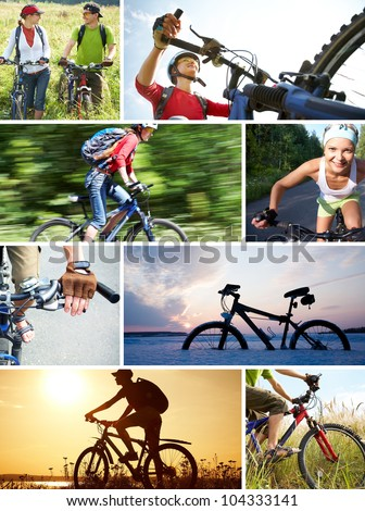 collage of photographs on the theme of love for cycling recreation - stock photo