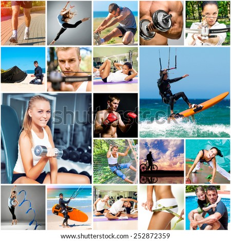 collage of photos about sport and healthy lifestyles - stock photo