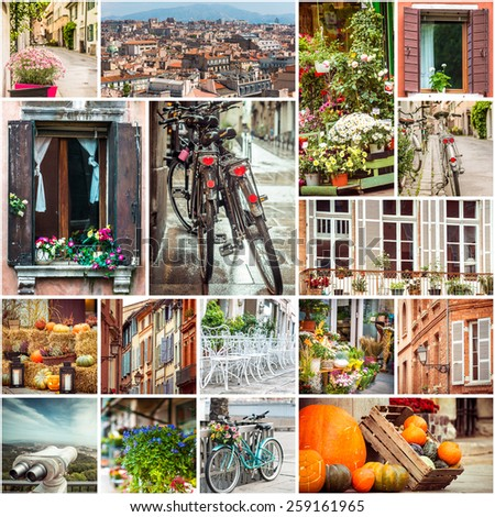Collage of photos beautiful views of European cities - stock photo