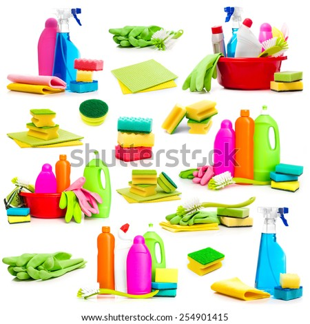 Collage of photos detergent and cleaning supplies on a white background - stock photo