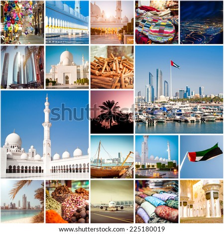 Collage of photos from Abu Dhabi. UAE - stock photo