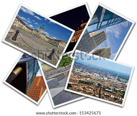 Collage of photos from Berlin Germany isolated on white background - stock photo