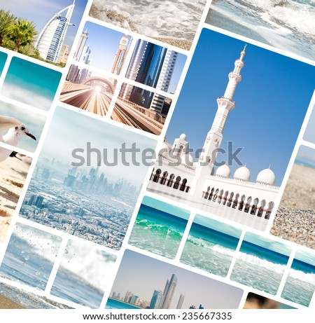 Collage of photos from Dubai and Abu Dhabi. UAE - stock photo