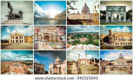 Collage of photos from Rome. Italy - stock photo