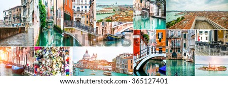 Collage of photos from Venice. Italy - stock photo