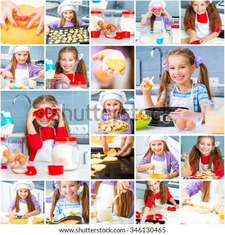 Collage of photos girl in the kitchen preparing herself cookies - stock photo