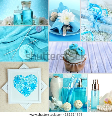Collage of photos in blue colors - stock photo