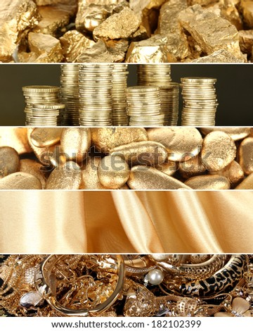 Collage of photos in gold colors - stock photo
