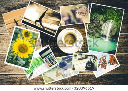 Collage of photos of a lifestyle - stock photo