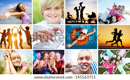 Collage of photos of beautiful happy people in the diversity of life - stock photo