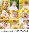 Collage of photos of cute smiling little girl - stock photo