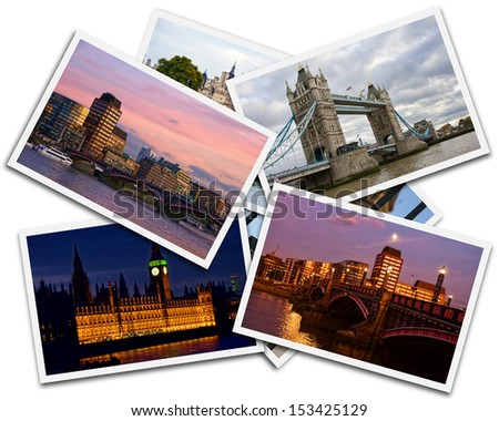 Collage of photos of London Great Britain on the white background - stock photo