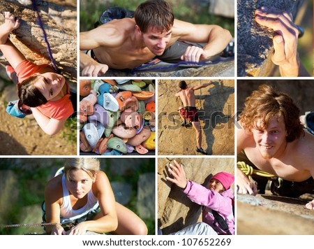 collage of photos of rock climbing and mountaineering