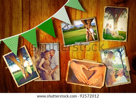 collage of photos of the pregnant couple outdoors on a summer day at sunset on a wooden background with green flags. - stock photo