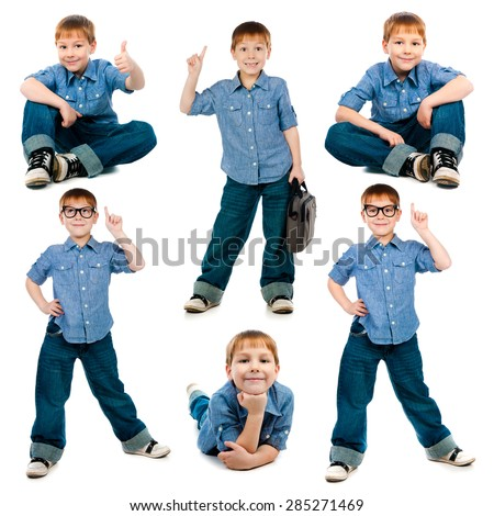 Collage of photos of the young boy wearing trendy jeans  and  shirt isolated on white background