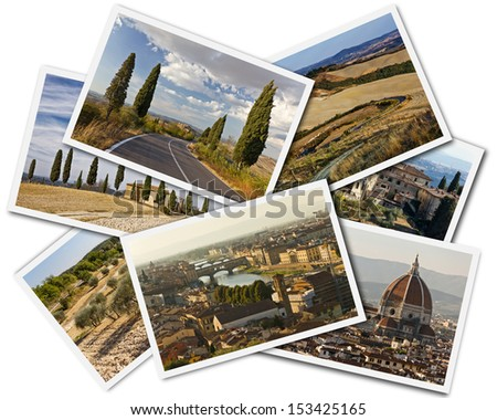 Collage of photos of Tuscany Italy on the white background - stock photo