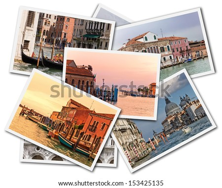 Collage of photos of Venice Italy isolated on the white background - stock photo
