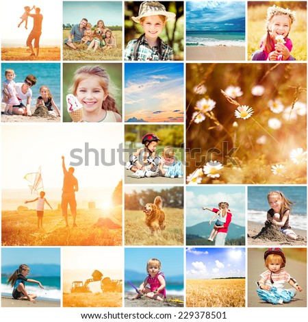 collage of photos on a summer theme - stock photo